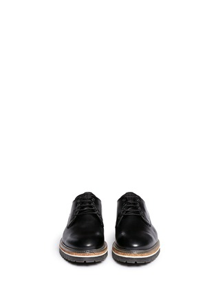 Figure View - Click To Enlarge - Armani Collezioni - Five eyelet leather Derbies