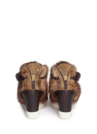 Back View - Click To Enlarge - Giuseppe Zanotti Design - 'Lorenz' fur suede wedge sneakers