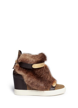 Main View - Click To Enlarge - Giuseppe Zanotti Design - 'Lorenz' fur suede wedge sneakers