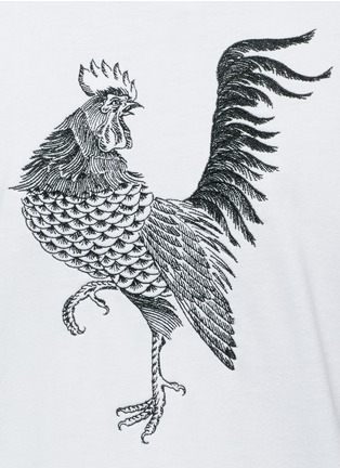 Detail View - Click To Enlarge - Saam1 - Rooster and cockscomb embroidered Henley shirt