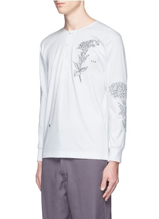 Front View - Click To Enlarge - Saam1 - Rooster and cockscomb embroidered Henley shirt