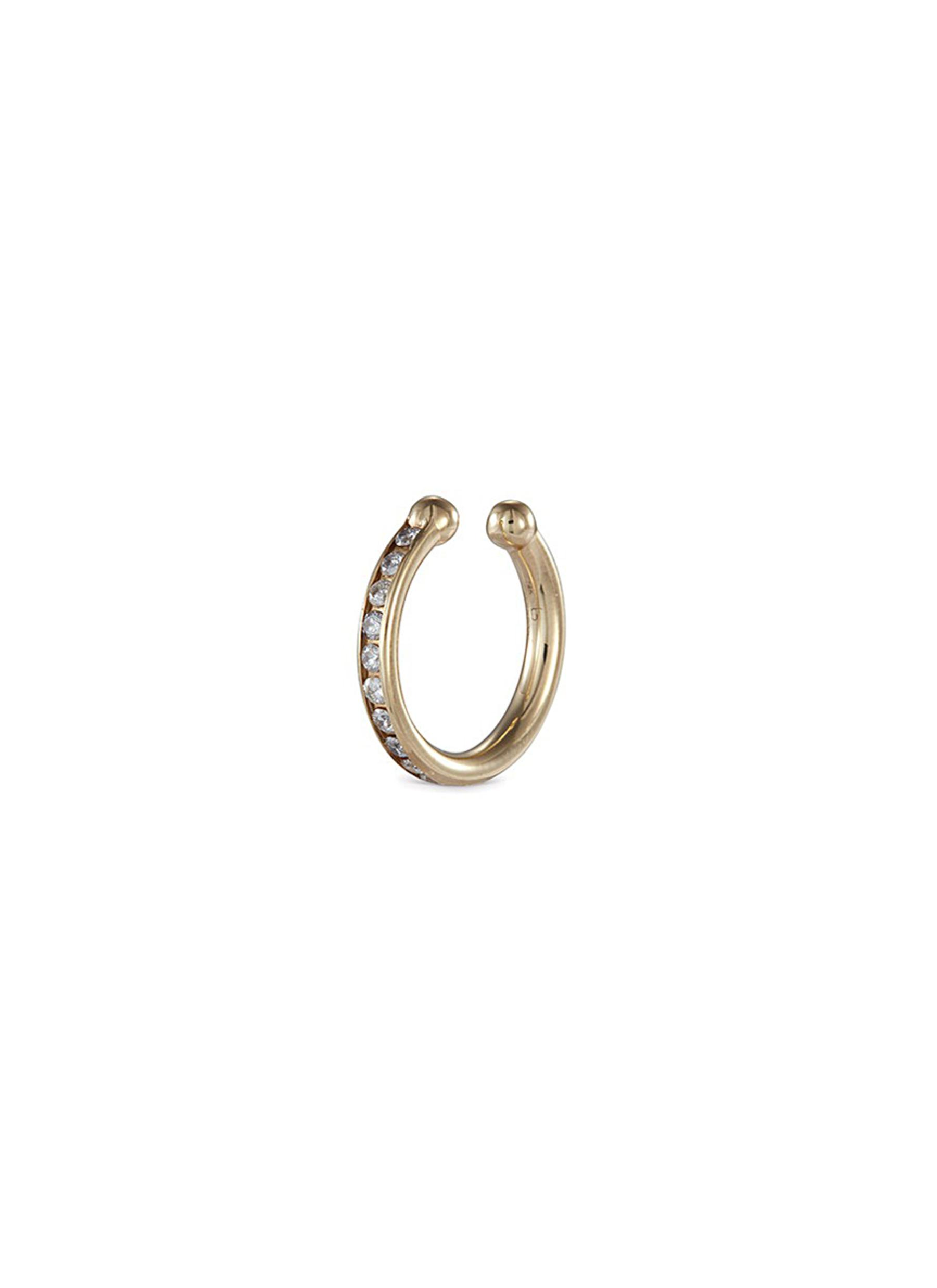 'Channel Orbital Hoop' Diamond 14K Yellow Gold Single Ear Cuff