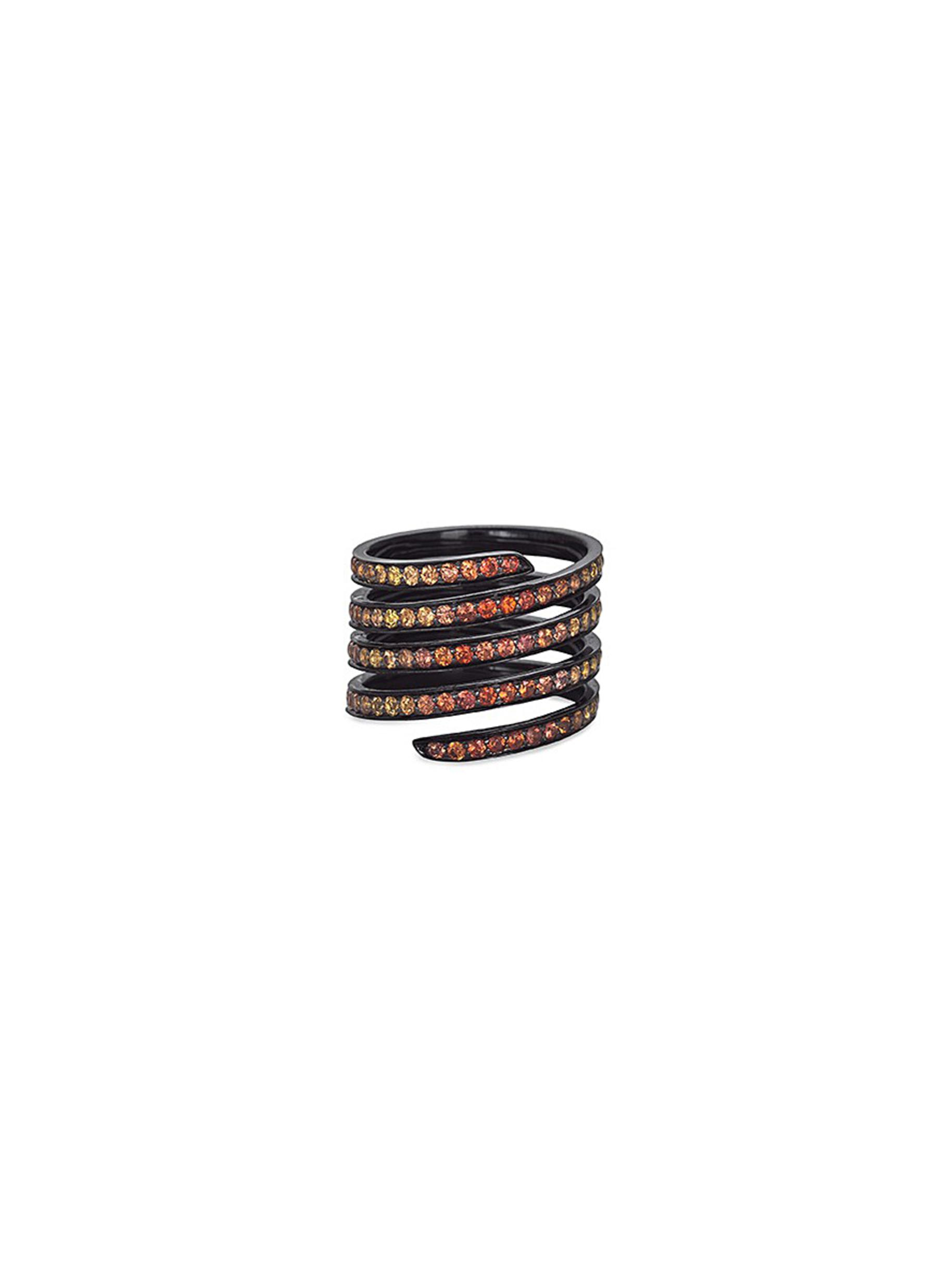 LYNN BAN 'Ombre Pave Coil' Sapphire Rhodium Silver Ring in Orange