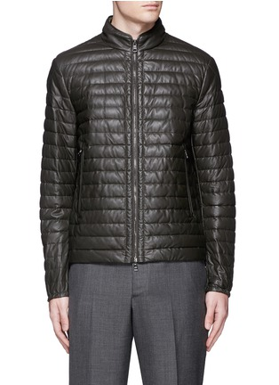 Main View - Click To Enlarge - MONCLER - 'Geslin' quilted down leather jacket