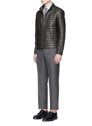 Figure View - Click To Enlarge - MONCLER - 'Geslin' quilted down leather jacket
