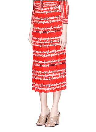 Front View - Click To Enlarge - Gucci - Cursive logo print silk midi skirt