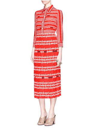 Figure View - Click To Enlarge - Gucci - Cursive logo print silk midi skirt