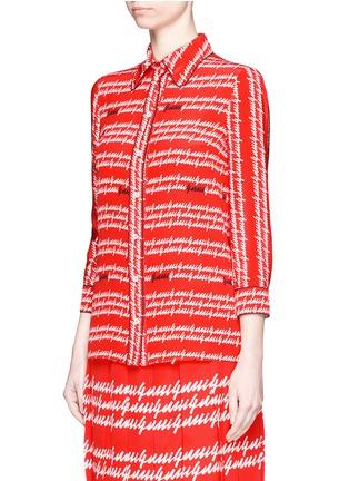 Front View - Click To Enlarge - Gucci - Cursive logo print silk shirt