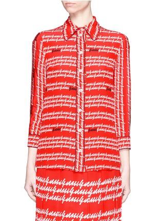 Main View - Click To Enlarge - Gucci - Cursive logo print silk shirt