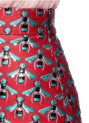 Detail View - Click To Enlarge - Gucci - Metallic bee jacquard A-line skirt
