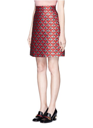 Front View - Click To Enlarge - Gucci - Metallic bee jacquard A-line skirt