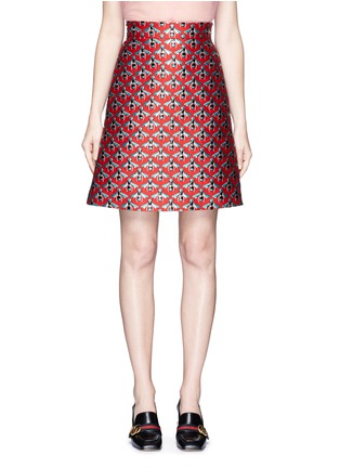 Main View - Click To Enlarge - Gucci - Metallic bee jacquard A-line skirt