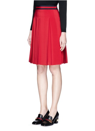 Front View - Click To Enlarge - Gucci - Stripe web waistband inverted pleat silk skirt