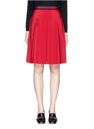 Main View - Click To Enlarge - Gucci - Stripe web waistband inverted pleat silk skirt