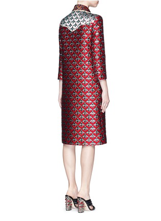 Back View - Click To Enlarge - GUCCI - Metallic bee Western line jacquard coat