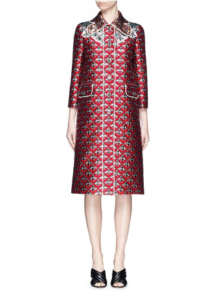Main View - Click To Enlarge - GUCCI - Metallic bee Western line jacquard coat