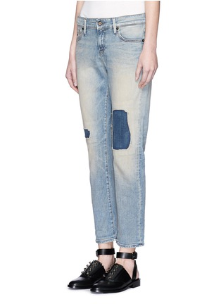Front View - Click To Enlarge - DENHAM - 'Monroe' repaired patch distressed jeans