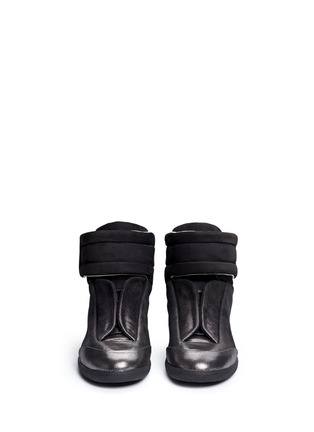 Front View - Click To Enlarge - MAISON MARGIELA SHOES - 'Future' dot gradient high top leather sneakers