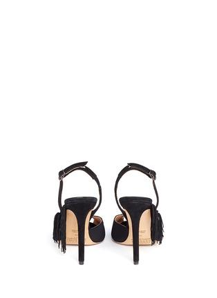 Back View - Click To Enlarge - Maison Margiela - Fringe peep toe slingback suede sandals