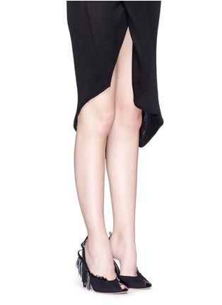 Figure View - Click To Enlarge - Maison Margiela - Fringe peep toe slingback suede sandals