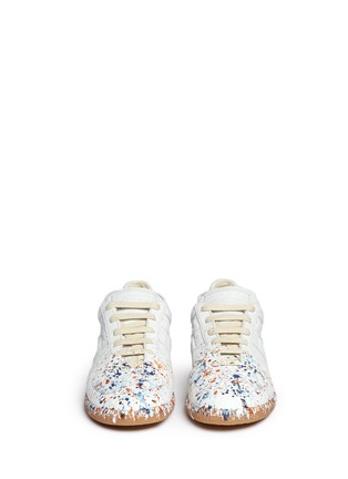 Front View - Click To Enlarge - Maison Margiela - 'Replica' paint splatter suede sneakers