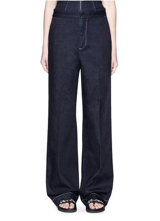 Main View - Click To Enlarge - Stella McCartney - 'Elsmere' contrast stitch raw denim wide leg pants
