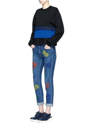 Figure View - Click To Enlarge - Stella McCartney - Swirl heart embroidery dark wash boyfriend jeans