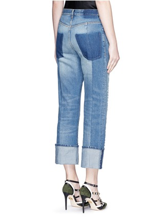 Back View - Click To Enlarge - ALEXANDER MCQUEEN - Distressed patchwork straight leg jeans