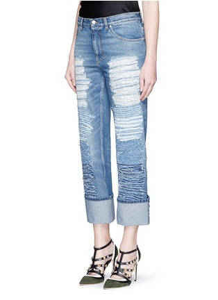 Front View - Click To Enlarge - Alexander McQueen - Distressed patchwork straight leg jeans