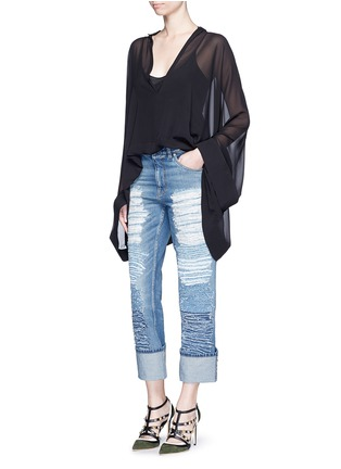 Figure View - Click To Enlarge - ALEXANDER MCQUEEN - Distressed patchwork straight leg jeans