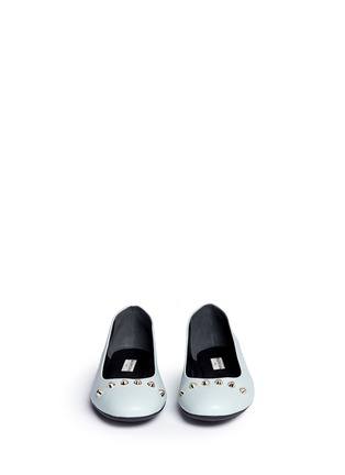 Front View - Click To Enlarge - Balenciaga - Stud leather ballerina flats