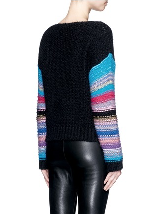 Back View - Click To Enlarge - SAINT LAURENT - Stripe sleeve pointelle knit sweater