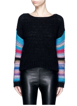 Main View - Click To Enlarge - SAINT LAURENT - Stripe sleeve pointelle knit sweater