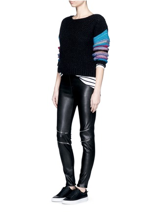 Figure View - Click To Enlarge - SAINT LAURENT - Stripe sleeve pointelle knit sweater