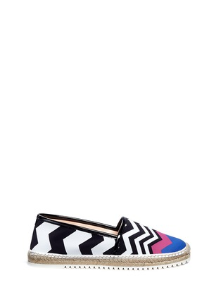 Main View - Click To Enlarge - Nicholas Kirkwood - Chevron coated canvas espadrille slip-ons