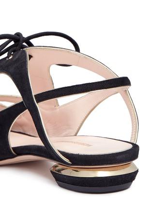 Detail View - Click To Enlarge - Nicholas Kirkwood - Wavy cutout suede lace-up sandals