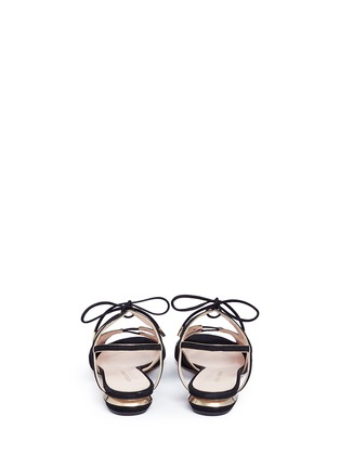 Back View - Click To Enlarge - Nicholas Kirkwood - Wavy cutout suede lace-up sandals
