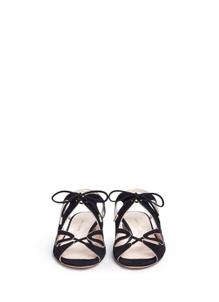 Front View - Click To Enlarge - Nicholas Kirkwood - Wavy cutout suede lace-up sandals