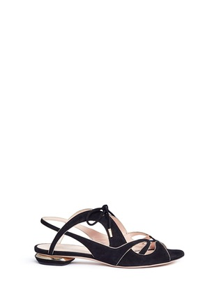 Main View - Click To Enlarge - Nicholas Kirkwood - Wavy cutout suede lace-up sandals