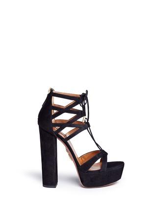 Main View - Click To Enlarge - Aquazzura - 'Beverly Hills' suede platform sandals