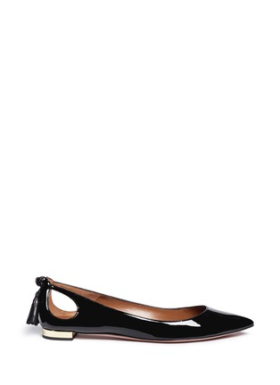 Main View - Click To Enlarge - Aquazzura - 'Forever Marilyn' tassel patent leather flats