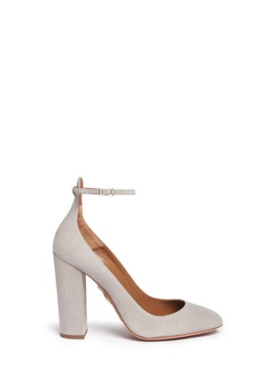 Main View - Click To Enlarge - Aquazzura - 'Alix' chunky heel suede pumps