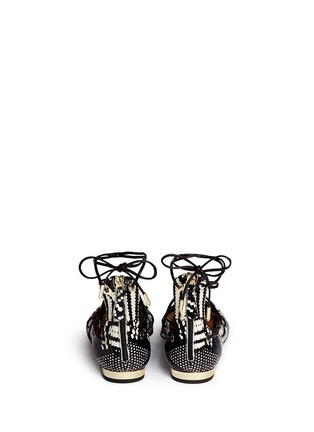 Back View - Click To Enlarge - Aquazzura - 'Cayenne' snakeskin leather lace-up flats