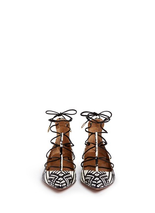 Front View - Click To Enlarge - Aquazzura - 'Cayenne' snakeskin leather lace-up flats