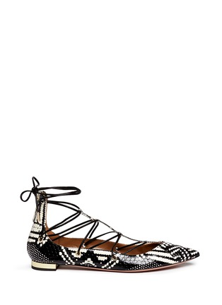 Main View - Click To Enlarge - Aquazzura - 'Cayenne' snakeskin leather lace-up flats