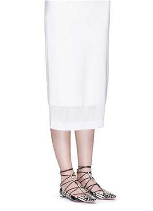 Figure View - Click To Enlarge - Aquazzura - 'Cayenne' snakeskin leather lace-up flats