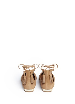 Back View - Click To Enlarge - Aquazzura - 'Boheme' lace-up back tie suede flats