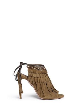 Main View - Click To Enlarge - Aquazzura - 'Pocahontas' fringe feather suede peep toe sandals