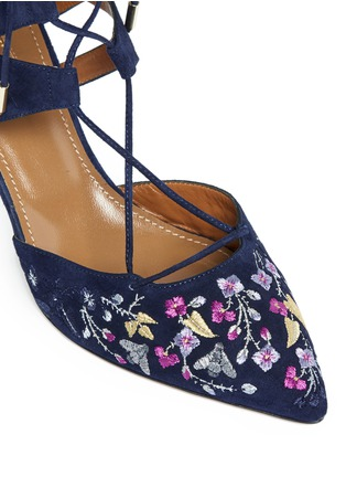 Detail View - Click To Enlarge - Aquazzura - 'Belgravia' floral embroidery caged suede pumps
