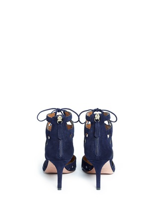 Back View - Click To Enlarge - Aquazzura - 'Belgravia' floral embroidery caged suede pumps